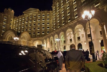 Archive picture of the Ritz Carlton Hotel in Riyadh, Saudi Arabia, where wealthy businessmen were and are being detained at the order of Crown Prince Mohamed bin Salman, over corruption allegations. Picture shows the hotel facade, lit up at night, with limousines parked out front.