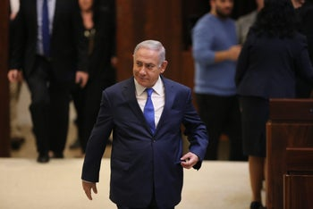 Prime Minister Benjamin Netanyahu in the Knesset, March 12, 2018.