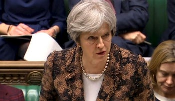 "Theresa May, speaking March 12, 2018, says her government has concluded it is ""highly likely"" Russia is responsible for the poisoning of an ex-spy and his daughter"