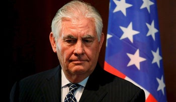 U.S. Secretary of State Rex Tillerson looks on as he holds a joint press conference with Nigeria's Foreign Minister in Abuja, on March 12, 2018.