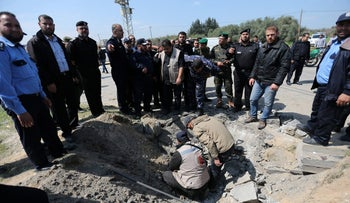 Hamas police chief Tayseer al-Batish inspects the site of an explosion that targeted the convoy of Palestinian Prime Minister Rami Hamdallah, in the northern Gaza Strip on Tuesday.