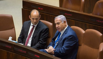 Prime Minister Benjamin Netanyahu and Education Minister Naftali Bennett in the Knesset on March 12, 2018.