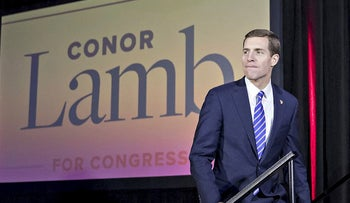 Conor Lamb, Democratic candidate for the U.S. House of Representatives, arrives to speak during an election night rally in Canonsburg, Pennsylvania, U.S., on Wednesday, March 14, 2018