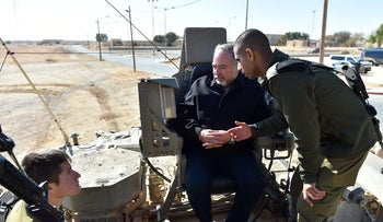 Defense Minister Avigdor Lieberman participating in military exercises in the south of Israel in December, 2017.