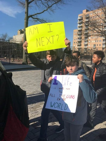 Students from Middle School 51 in Brooklyn during the school walkout calling for gun-control legislation, March 14, 2018.