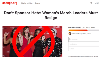A screengrab for the online petition calling on four Women's March leaders to resign.