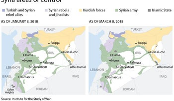 Updated areas of control map in Syria.