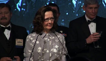 Gina Haspel, then Deputy Director of the CIA, speaking at the 2017 William J. Donovan Award Dinner in Washington, DC. October 2017.