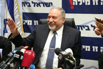 Defense Minister Avigdor Lieberman at a Yisrael Beiteinu faction meeting, March 12, 2018.