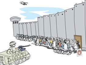 Illustration: Palestinians wait in line to cross the West Bank wall as Israeli troops in a tank and a helicopter watch.