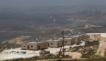 Prefabricated homes in the West Bank Jewish settlement of Yitzhar, near Nablus. May 7, 2014.