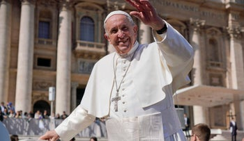 Pope Francis waves as he leaves St. Peter's Square at the end of his general weekly audience, at the Vatican, Wednesday, March 14, 2018. (AP Photo/Andrew Medichini)