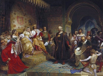 Columbus, King Ferdinand and Queen Isabella, in an 1843 by the German American Emanuel Leutze.