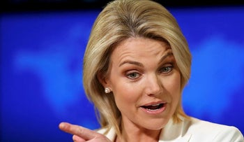 In this Aug. 9, 2017, file photo State Department spokeswoman Heather Nauert speaks during a briefing at the State Department in Washington