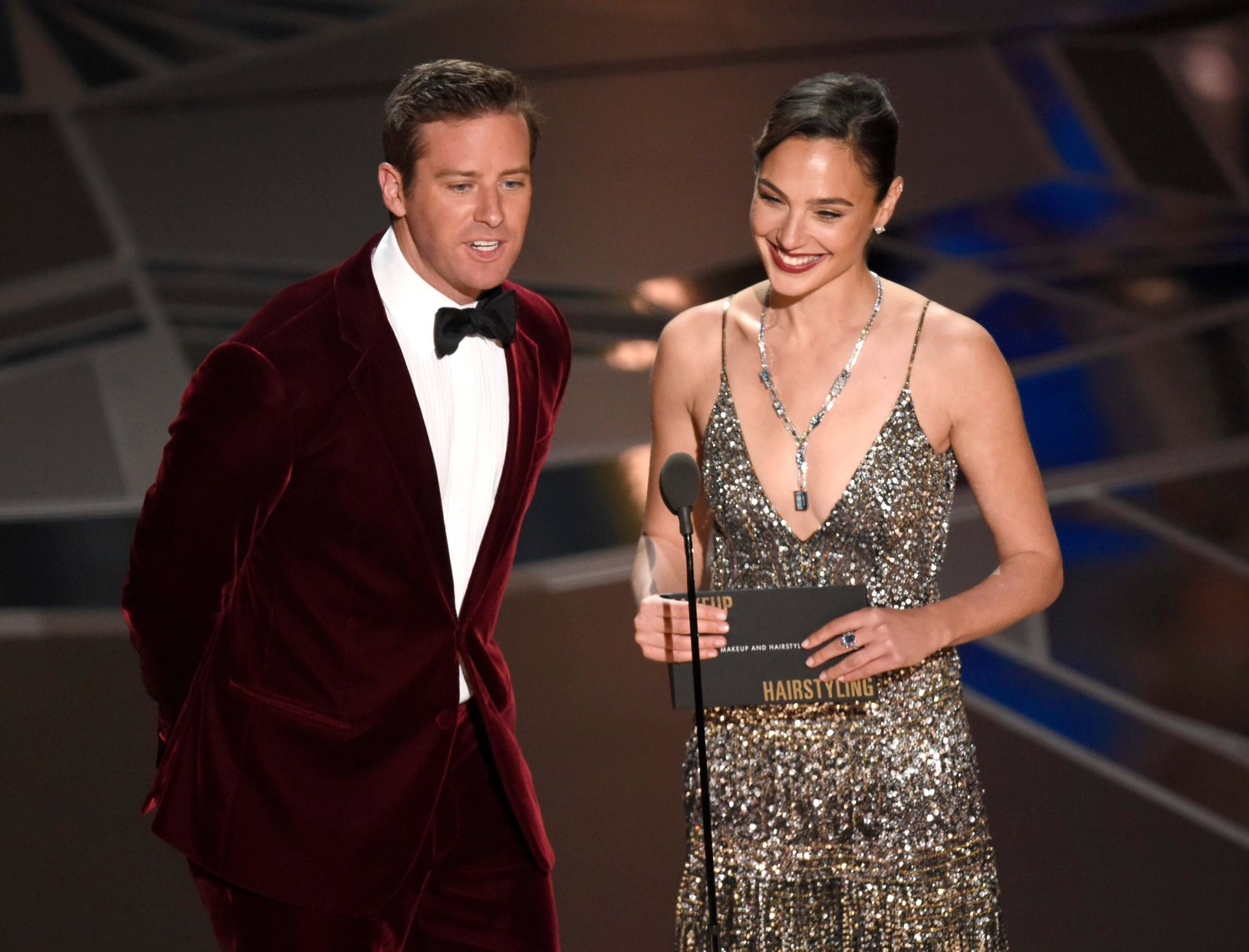 Armie Hammer and Gal Gadot present the award for best makeup and hairstyling at the Oscars, March 4, 2018, at the Dolby Theatre in Los Angeles.