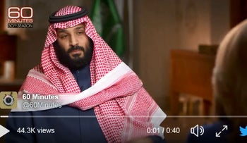 """CBS' """"60 Minutes' tweets interview with Saudi Crown Prince Mohammed bin Salman, March 18, 2018"""