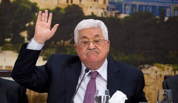Palestinian President Mahmoud Abbas, speaks during a meeting with the Palestinian Central Council, a top decision-making body, at his headquarters in the West Bank city of Ramallah, Saturday, Jan. 13, 2018 . (AP Photo/Majdi Mohammed,l)