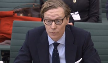 (FILES) In this file photo taken on February 27, 2018 A video grab from footage broadcast by the UK Parliament's Parliamentary Recording Unit (PRU) on February 27, 2018 shows Chief Executive, Cambridge Analytica, Alexander Nix, giving evidence to the Digital, Culture, Media and Sport Committee of members of parliament on the subject of fake news at the Houses of Parliament in London on February 27, 2018.