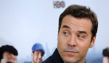 """Jeremy Piven, whose character in """"Entourage,"""" is based on Ari Emanuel arrives at the premiere of the seventh season of the HBO series in Los Angeles, Wednesday, June 16, 2010"""