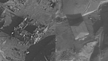 The Syrian reactor, before and after the Israeli strike.
