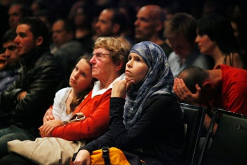 Israelis and Palestinians at the alternative Memorial Day ceremony in Tel Aviv, April 24, 2012.
