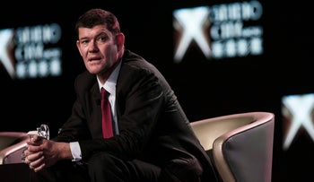 FILE PHOTO: Billionaire James Packer speaks during a news conference at Melco's Studio City casino resort in Macau, China on October 27, 2015.