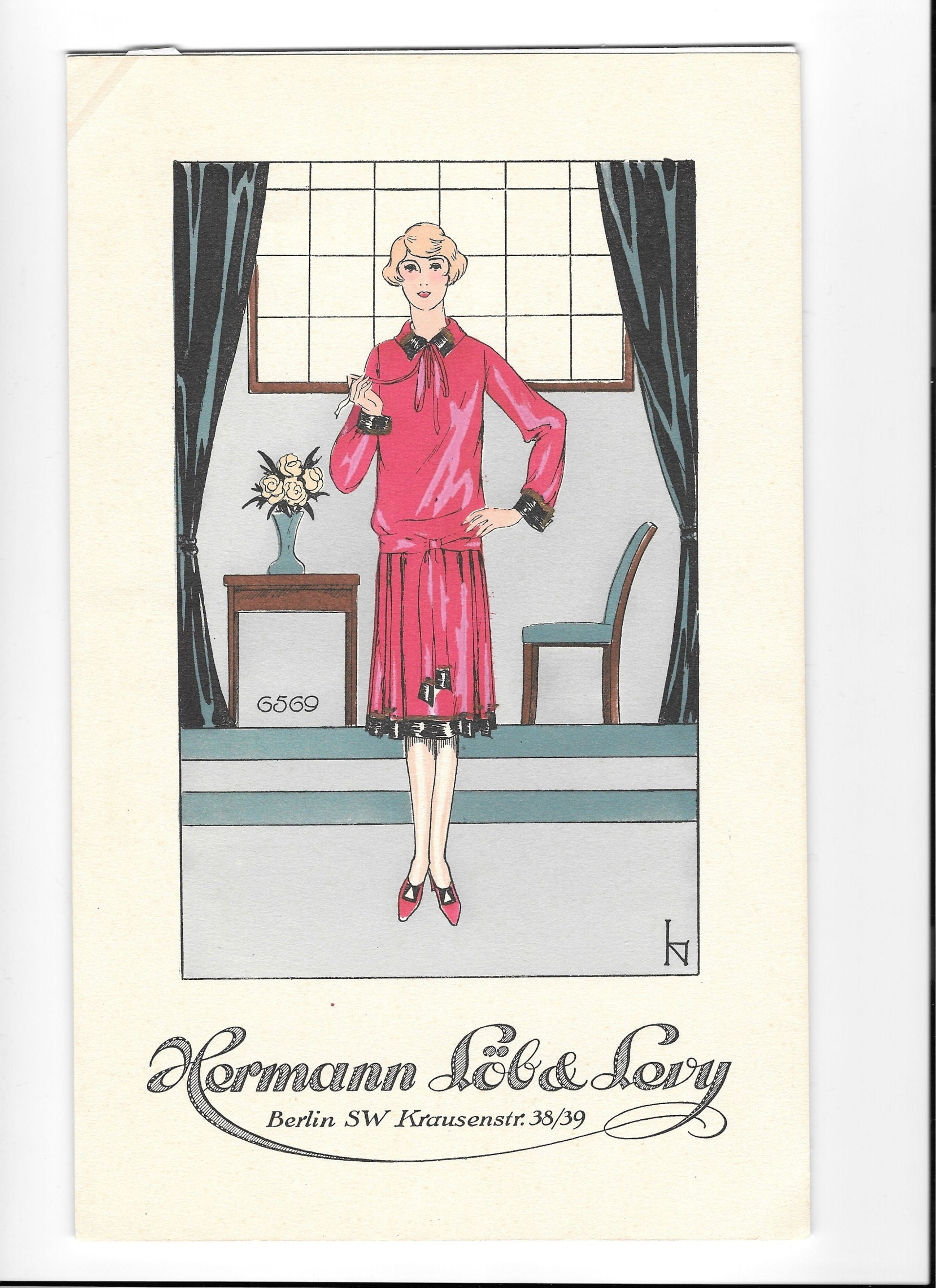 A fashion drawing by Lissy Neumann from 1934. One of the most talented fashion designers in Berlin, she was forced to emigrate to London in 1936.