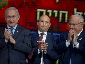 From left to right: Prime Minister Benjamin Netanyahu, Education Minister Naftali Bennett and President Reuven Rivlin at the Israel Prize ceremony.