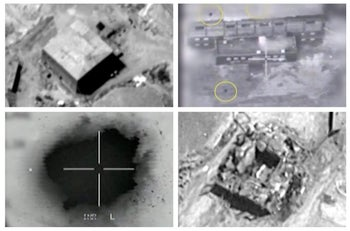 Screen grabs from a video released by the Israeli military showing the airstrike on the suspected Syrian nuclear reactor site near Deir al-Zor.