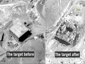 A still frame from a video released by the Israeli military which shows the site of the suspected Syrian nuclear reactor before and after it was bombed by Israel in 2007.