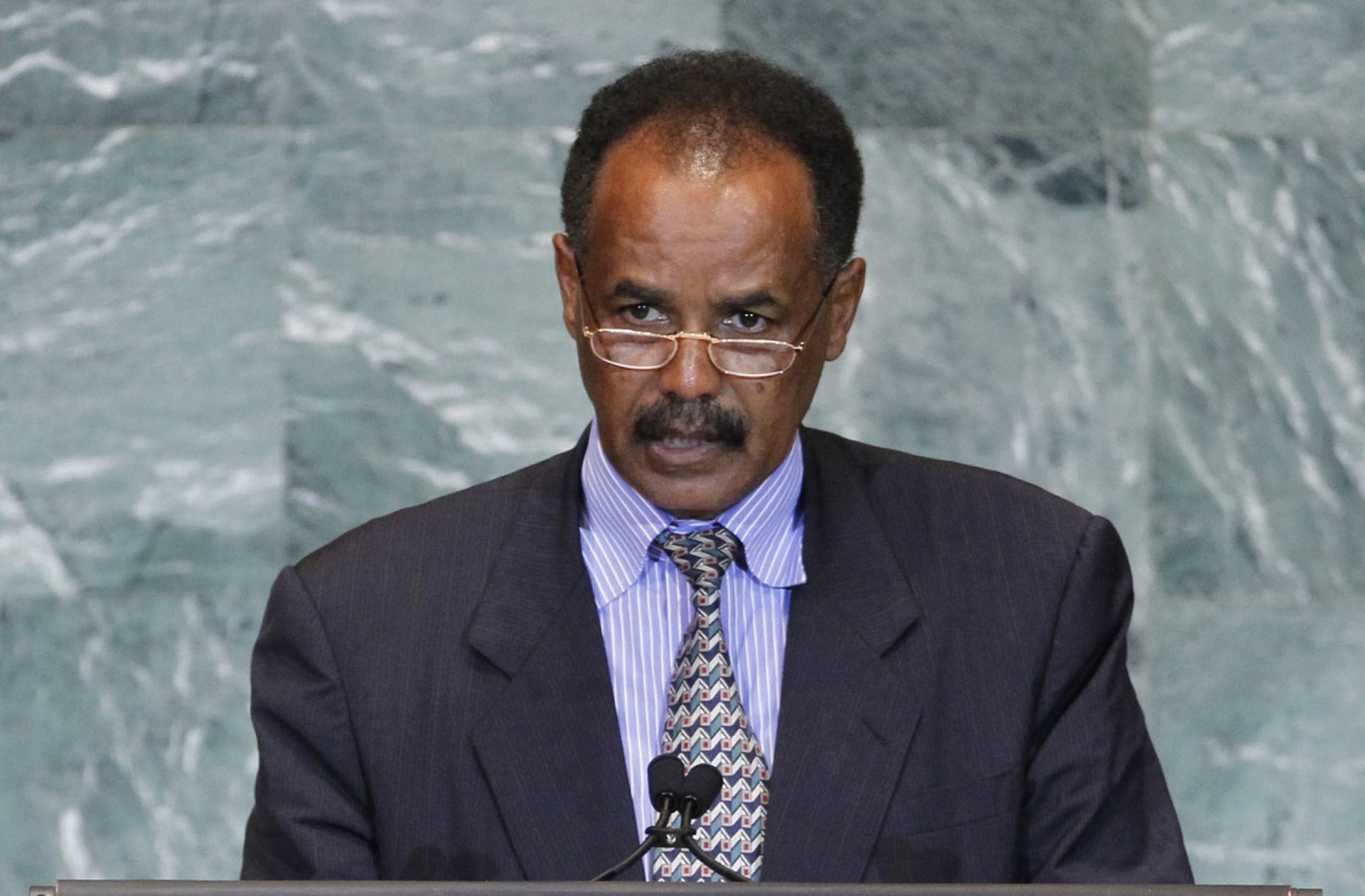 Sept. 23, 2011, President Isaias Afwerki of Eritrea addresses the 66th session of the United Nations General Assembly at U.N. headquarters.
