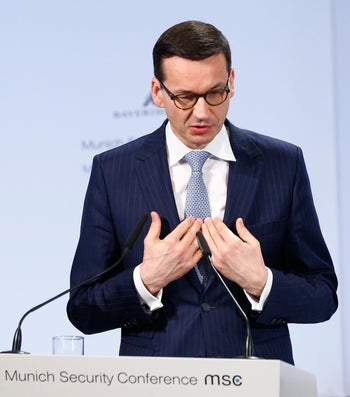 Poland's Prime Minister Mateusz Morawiecki talks at the Munich Security Conference in Munich