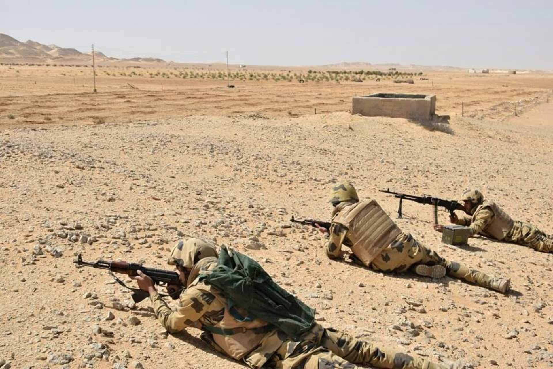 Egyptian Army soldiers are seen in the troubled northern part of the Sinai peninsula during a launch of a major assault against militants, in Al Arish, Egypt, in 2018.