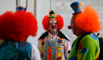 Flame-haired clowns attending the 17th International Clown Convention in Mexico City, 2013.