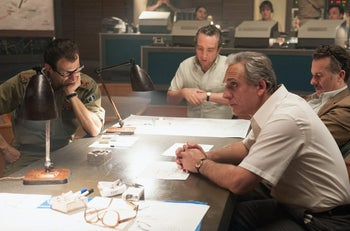 """Eddie Marsan, second from left, as Defense Minister Shimon Peres and Lior Ashkenazi, second from right, as Prime Minister Yitzhak Rabin in """"7 Days in Entebbe."""""""