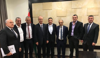 Israel and Palestinian delegations with Finance Minister Moshe Kahlon and the Palestinian Prime Minister Rami Hamdallah