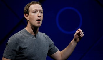 Facebook Founder and CEO Mark Zuckerberg speaks on stage during the annual Facebook F8 Developers Conference in California, April 18, 2017.