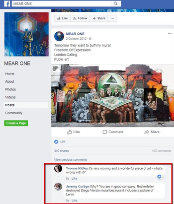 A screenshot of Jeremy Corbyn commenting on a mural deemed to be anti-Semitic.