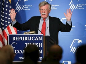 In this March 29, 2014, file photo, former U.S. ambassador to the U.N. John Bolton speaks at the Republican Jewish Coalition in Las Vegas