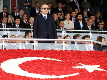 Turkish President Tayyip Erdogan attends a ceremony marking the 103rd anniversary of Battle of Canakkale, also known as the Gallipoli Campaign, in Canakkale, Turkey. March 18, 2018