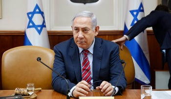 Prime Minister Benjamin Netanyahu chairs the weekly cabinet meeting in Jerusalem, March 25, 2018.