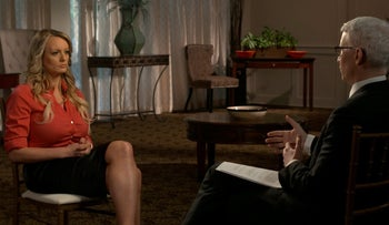 Stormy Daniels is interviewed by Anderson Cooper of CBS News' 60 Minutes' program in early March 2018, in a still image from video provided March 25, 2018.