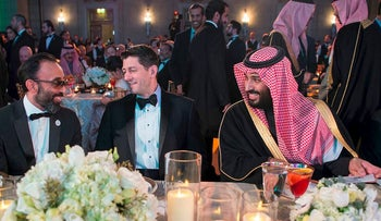 A handout picture provided by the Saudi Royal Palace on March 22, 2018 shows Saudi Crown Prince Mohammed bin Salman (R) and US Speaker of the House, Paul Ryan (C), Republican of Wisconsin, attending the Saudi-US Partnership Gala event in Washington, DC.