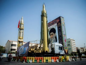 A display featuring missiles and a portrait of Iran's Supreme Leader Ayatollah Ali Khamenei is seen at Baharestan Square in Tehran, Iran, September 27, 2017.