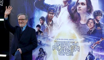 "Director Steven Spielberg waves during the premiere of ""Ready Player One"" in Los Angeles, California, U.S., March 26, 2018"