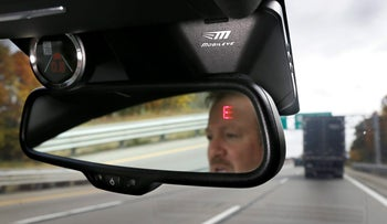 File photo: A Mobileye camera system inside of a car.