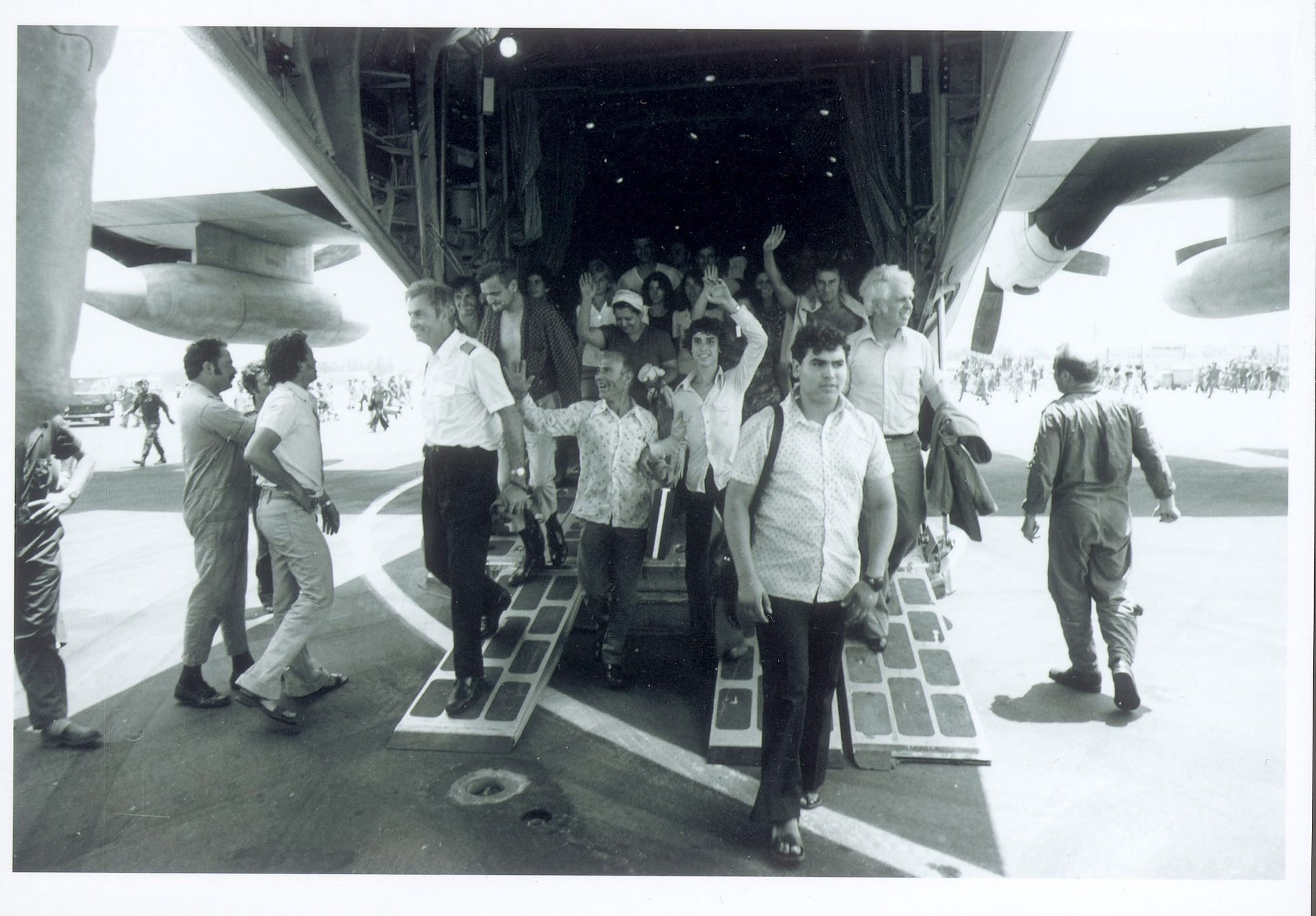 Entebbe abductees after their release.