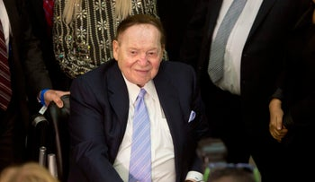 Sheldon Adelson arrives for President Donald Trump's speech at the Israel museum in Jerusalem on May 23, 2017.