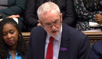 FILE PHOTO: A video grab from footage broadcast by the U.K. Parliament's Parliamentary Recording Unit shows Britain's main opposition Labour Party leader Jeremy Corbyn, March 28, 2018.