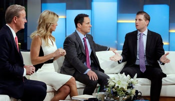 "Eric Trump, right, appears on the ""Fox & friends"" television program, with co-hosts Steve Doocy, from left, Ainsley Earhardt and Brian Kilmeade, in New York Wednesday, Jan. 17, 2018. (AP Photo/Richard Drew)"